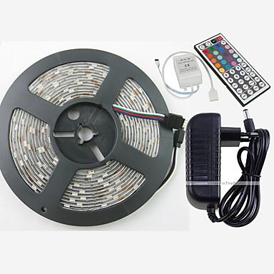billige LED Strip Lamper-ZDM® 5 m Lyssett / RGB-lysstriper 150 LED 5050 SMD 1 44Kjør fjernkontrollen / 1 vekselstrømkabel / 1 x 12V 3A adapter RGB Vanntett / Kuttbar / Dekorativ 100-240 V / 12 V 1set / IP65 / Selvklebende