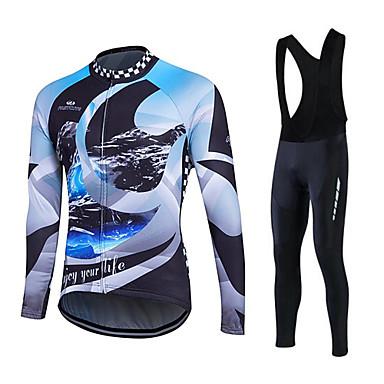 Fastcute Camisa com Calça Bretelle Homens Mulheres Unisexo Manga Longa Moto Conjuntos de Roupas Inverno Tosão Roupa de Ciclismo