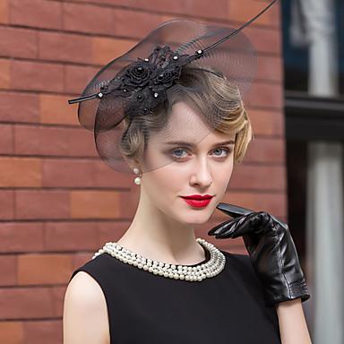 voordelige Hoeden-tule strass veer hoeden hoofddeksel klassieke vrouwelijke stijl