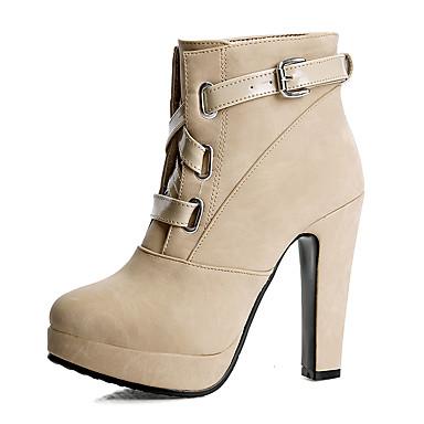 Mulheres Courino Inverno Botas da Moda / Sapatos formais Botas Salto Robusto Ponta Redonda Presilha Bege / Amarelo / Rosa claro