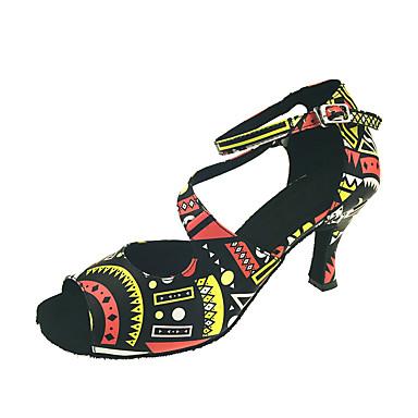 Mulheres Sapatos de Dança Latina Courino Sandália / Salto Presilha / Recortes Salto Personalizado Personalizável Sapatos de Dança Preto / Vermelho / Espetáculo