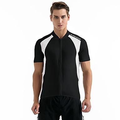 WOSAWE Manga Curta Camisa para Ciclismo - Branco Preto Moto Camisa / Roupas Para Esporte, Respirável, Redutor de Suor, Verão, Poliéster