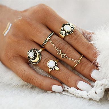cheap Rings-Women's Ring Rings Set Opal Flower Anchor Ladies Unusual Geometric Unique Design Vintage Bohemian Ring Jewelry Gold / Silver For Christmas Gifts Wedding Party Special Occasion Halloween Anniversary