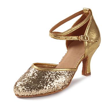 للمرأة أحذية رقص بريّق / براق / جلد محفوظ صندل / كعب ترتر / بريق مميز / مشبك كعب كوبي مخصص أحذية الرقص ذهبي / فضي / أداء