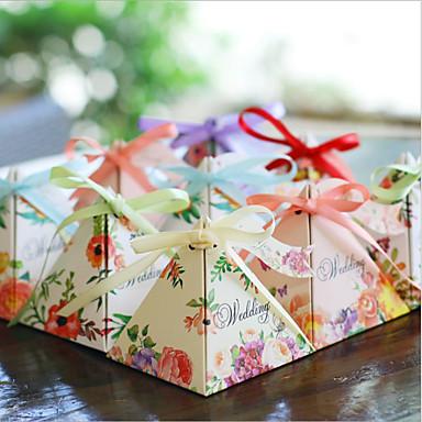 Redonda Quadrada Pirâmide Papel de Cartão Suportes para Lembrancinhas com Estampado Caixas de Ofertas Caixas de Presente