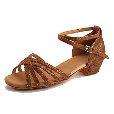 Mulheres Sapatos de Dança Latina Courino Têni Salto Baixo Personalizável Sapatos de Dança Preto e Dourado / Preto e Prateado / Rosa claro