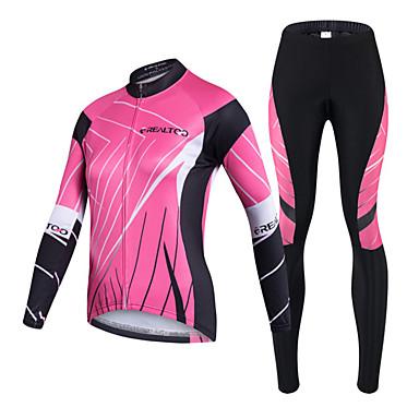 Realtoo Fahrradtrikots mit Fahrradhosen Damen Langarm Fahhrad Kleidungs-Sets Rasche Trocknung UV-resistant Reißverschluß vorne