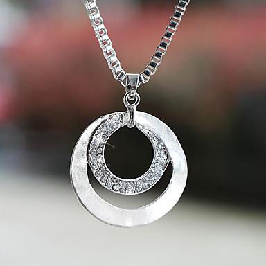 Dame Syntetisk Diamant Anheng Halskjede - Sølvplett, Fuskediamant Grunnleggende, Mote Sølv Halskjeder Smykker 1pc Til Bryllup, Fest, Gave