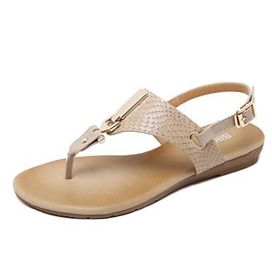billige Sandaler til damer-Dame Sandaler Flade hæle Rund Tå Nitte / Spænde Mikrofiber Komfort / Lysende såler Gang Forår / Sommer Sort / Mandel