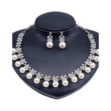 Mulheres Imitação de Pérola Conjunto de jóias 1 Colar 1 Par de Brincos - Clássico Euramerican Fashion Redonda Prata Conjunto de Jóias Para