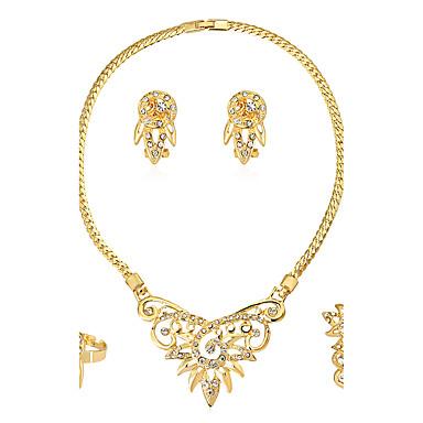 Mulheres Strass Conjunto de jóias Anéis 1 Colar 1 Par de Brincos 1 Bracelete - Euramerican Fashion Irregular Conjunto de Jóias Colar /