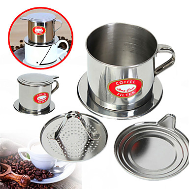 1pç Aço Inoxidável Filtro de Café com suporte Cup Reutilisável Manual ,