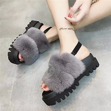 Women's Shoes Other Animal Skin Spring Comfort Sandals for Casual Black Gray