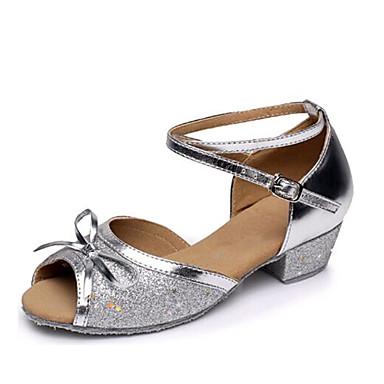 baratos Shall We® Sapatos de Dança-Mulheres Sapatos de Dança Paetês Sapatos de Dança Latina Laço / Gliter com Brilho Sapatilha Salto Baixo Não Personalizável Dourado / Prata / Fúcsia / Espetáculo / Couro
