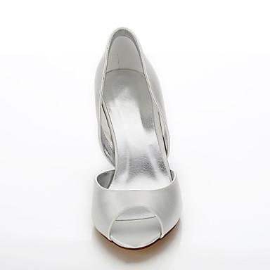 Chaussures de de ouvert Femme Chaussures 05815820 rond Chaussures Confort Aiguille Chaussures amp; Evénement Ivoire Mariage Talon mariage Bout Eté Printemps Dyeable Bout club Soie Soirée WPYqwP0C