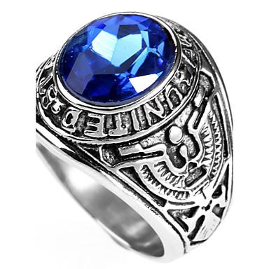 voordelige Herensieraden-Heren Statement Ring Ring Saffier Rood Groen Blauw Titanium Staal Gepersonaliseerde Punk Rock Kerstcadeaus Feest Sieraden patiencespel Rond High School Rings Klasse Magie