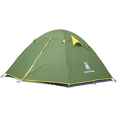 3 pessoa Tenda Dupla Camada Barraca de acampamento Ao ar livre Tenda Dobrada Prova-de-Água / Á Prova-de-Chuva / Á Prova de Humidade para