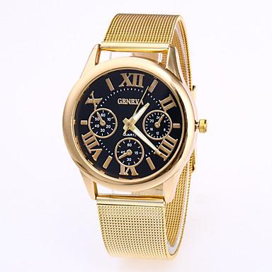 baratos Relógios Homem-Geneva Homens Relógio de Pulso Quartzo Aço Inoxidável Ouro Rose Relógio Casual Legal Analógico Fashion - Branco Preto Café