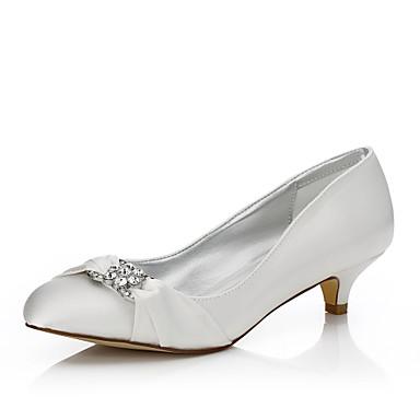 Mulheres Sapatos Seda Outono / Inverno Conforto / Sapatos Dyeable Sapatos De Casamento Salto Baixo Ponta Redonda Ivory / Festas & Noite