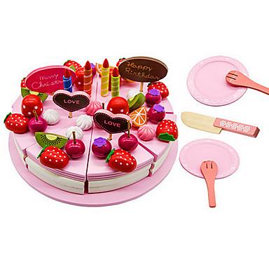 Comida de Brinquedo Brinquedos de Faz de Conta Brinquedos Circular Cortadores de Bolos e Bolachas Sobremesa Bolo Madeira Crianças Dom 1pcs