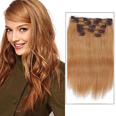 Clip In 人間の髪の拡張機能 人毛 ストレート 女性用 日常