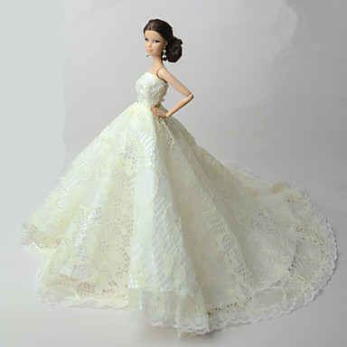 Wedding dresses for barbie doll lace organza dress for for Barbie wedding dresses for sale