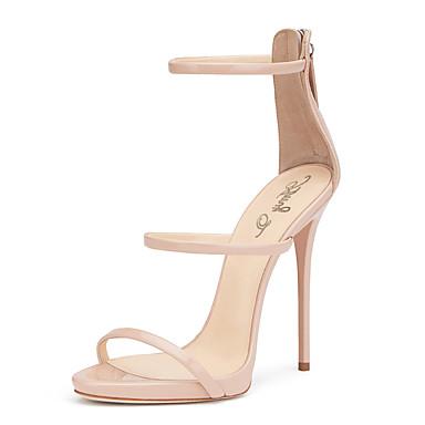 Mulheres Sapatos Couro Ecológico Primavera / Verão Gladiador / Sapatos clube Sandálias Salto Agulha Ponta Redonda Ziper Nú / Casamento