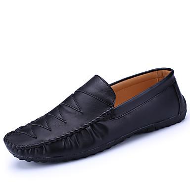 Homens sapatos Pele Primavera / Outono Conforto Mocassins e Slip-Ons Caminhada Preto / Cinzento / Azul / Festas & Noite