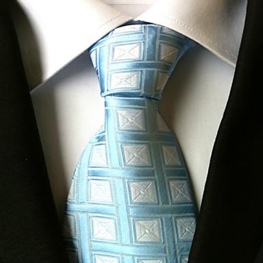 남성용 작업/오피스 캐쥬얼 넥타이, Houndstooth 폴리에스테르 사계절 화이트 밝은 블루