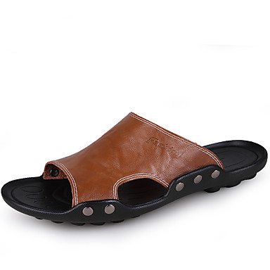 Herrn Schuhe PU Sommer Komfort Sandalen Walking Orange / Dunkel Braun / Blau