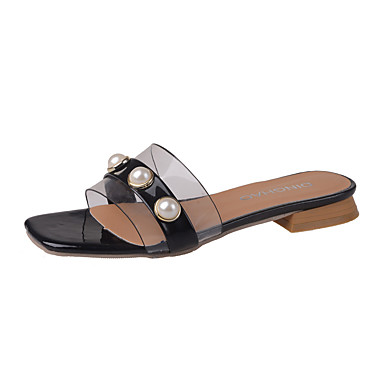 Damen Schuhe PU Sommer Komfort Sandalen Walking Block Ferse Offene Spitze Imitationsperle Weiß / Schwarz / Rot