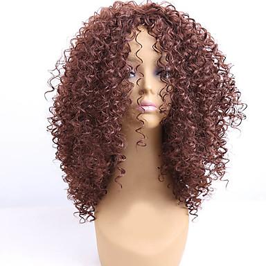 الاصطناعية الباروكات مجعد شعر مستعار صناعي شعر مستعار أفرو-أمريكي بني شعر مستعار للمرأة متوسط دون غطاء البيج