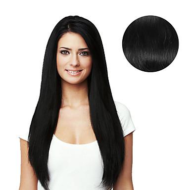 Klipp På Hairextensions med menneskehår Rett Hairextensions med menneskehår Ekte hår Jet Svart