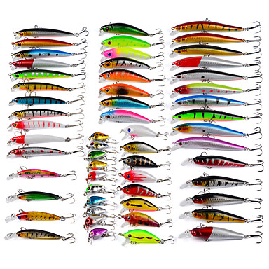 cheap Fishing Lures & Flies-Promotion 56Pcs Lot Almighty Mixed Minnow Fishing Lure Bait Set Kit Wobbler Crankbait Swimbait With Treble Hook