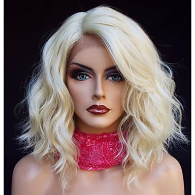Synthetic Lace Front Wig Loose Wave Blonde Bob Haircut Side Part
