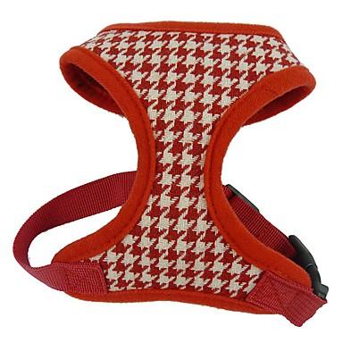 Gato Cachorro Arreios Retratável Respirável Xadrez Geométrico Têxtil Tecido Preto Vermelho