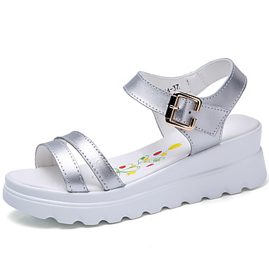 Dámské Boty Kůže Léto Sandály Chůze Platforma S otevřeným palcem pro Bílá Stříbrná