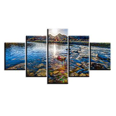 Reprodukce umění Krajina Pastýřský,Pět panelů Horizontálně Tisk Art Wall Decor For Home dekorace