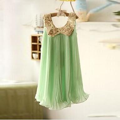 Χαμηλού Κόστους Φορέματα για κορίτσια-Νήπιο Κοριτσίστικα Μονόχρωμο Αμάνικο Κανονικό Βαμβάκι Φόρεμα Πράσινο