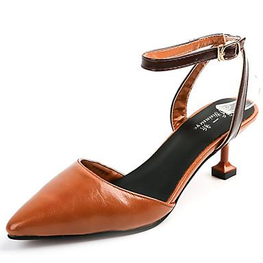 Mulheres Sapatos Couro Ecológico Verão Conforto Sandálias Caminhada Salto de bloco Dedo Aberto Presilha / Cadarço de Borracha Bege /