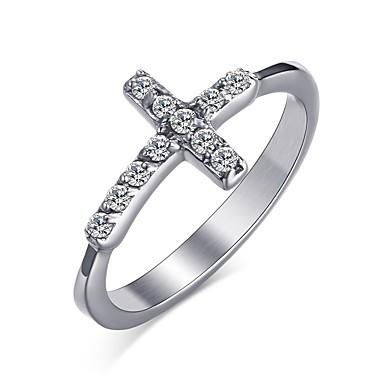 Mulheres Anel Cristal Prata Aço Inoxidável Cruz Redonda Formato Circular Forma Geométrica Personalizada Básico Euramerican Fashion Estilo