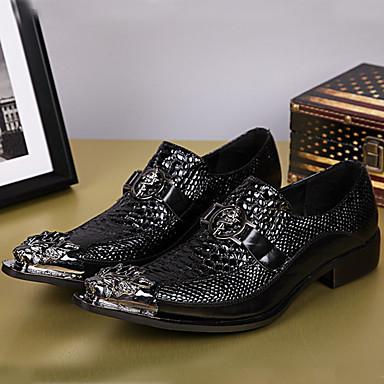 Homens Sapatos formais Pele Napa Primavera / Outono Oxfords Preto / Festas & Noite
