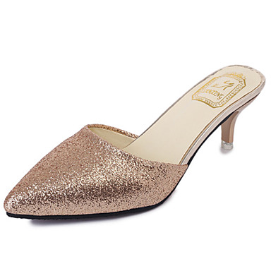 Mulheres Couro Ecológico Primavera / Verão Sapatos clube Sandálias Salto Agulha Dedo Apontado Dourado / Preto / Prateado