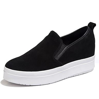 Mulheres Sapatos Camurça Primavera / Outono Conforto Mocassins e Slip-Ons Sem Salto Preto / Fúcsia / Festas & Noite