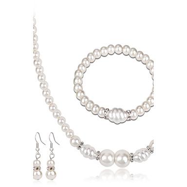 Mulheres Conjunto de jóias - Pérola Fashion, Euramerican Incluir Brincos / pulseira Colar com Pérolas Branco Para Casamento Festa Aniversário / Noivado / Presente / Diário