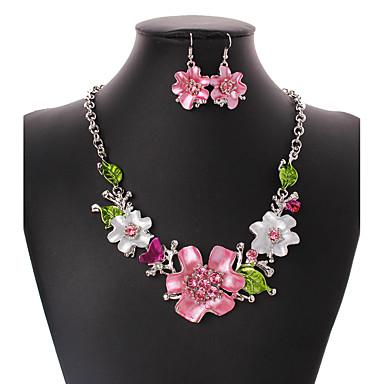 Mulheres Conjunto de jóias 1 Colar 1 Par de Brincos - Euramerican Flor Conjunto de Jóias Para Casamento Festa Ocasião Especial