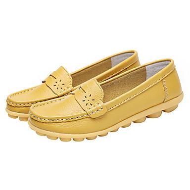 51b83b6c8fb Women s Moccasin Leather   Cowhide Spring   Summer Comfort   Light Soles  Loafers   Slip-Ons Flat Heel   Low Heel Round Toe   Closed Toe Orange    Light ...