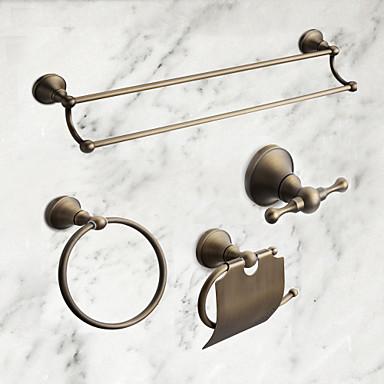 Jogo de Acessórios para Banheiro Clássica Latão 4pçs - Banho do hotel Suportes de Papel Higiénico / Robe Hook / barra da torre