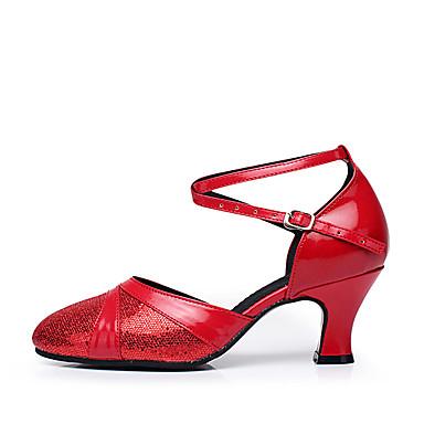 للمرأة أحذية عصرية براق / جلد كعب ربط كعب مخصص مخصص أحذية الرقص فضي / أحمر / أزرق