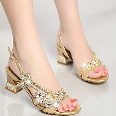 d1cb9940fb0 Women s Shoes Nappa Leather Summer Club Shoes Sandals Chunky Heel  Rhinestone Gold   Purple   Blue   Party   Evening   Party   Evening